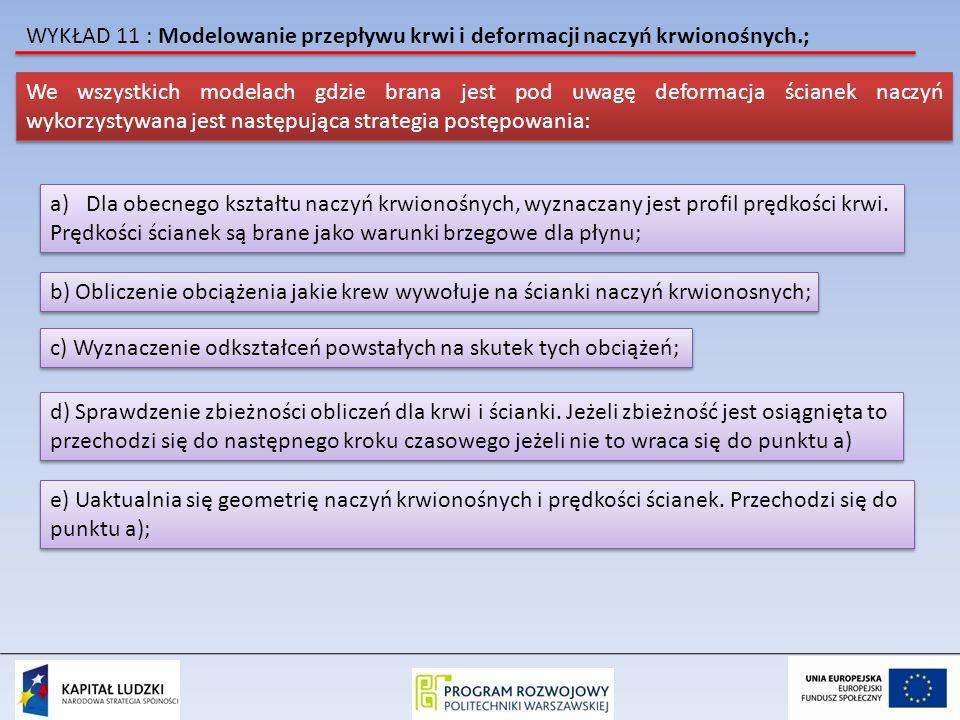 WYKŁAD 11 : Modelowanie przepływu krwi i deformacji naczyń krwionośnych.; We wszystkich modelach gdzie brana jest pod uwagę deformacja ścianek naczyń