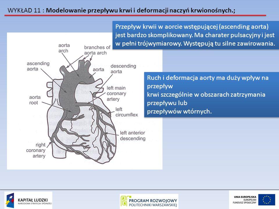 WYKŁAD 11 : Modelowanie przepływu krwi i deformacji naczyń krwionośnych.; Przepływ krwii w aorcie wstępującej (ascending aorta) jest bardzo skomplikow
