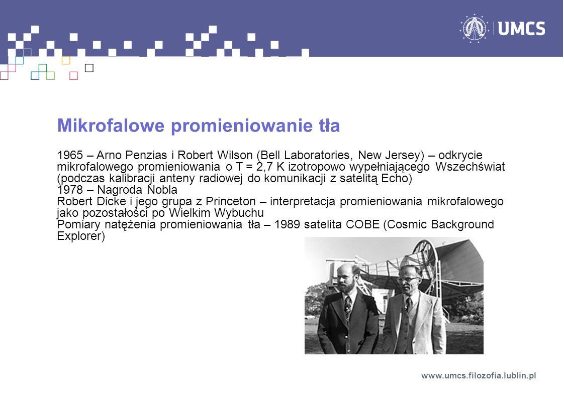 Mikrofalowe promieniowanie tła 1965 – Arno Penzias i Robert Wilson (Bell Laboratories, New Jersey) – odkrycie mikrofalowego promieniowania o T = 2,7 K
