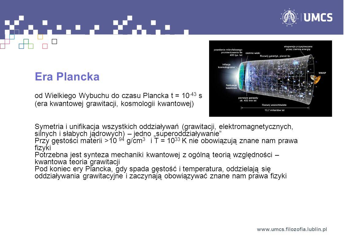 Era Plancka od Wielkiego Wybuchu do czasu Plancka t = 10 -43 s (era kwantowej grawitacji, kosmologii kwantowej) Symetria i unifikacja wszystkich oddzi
