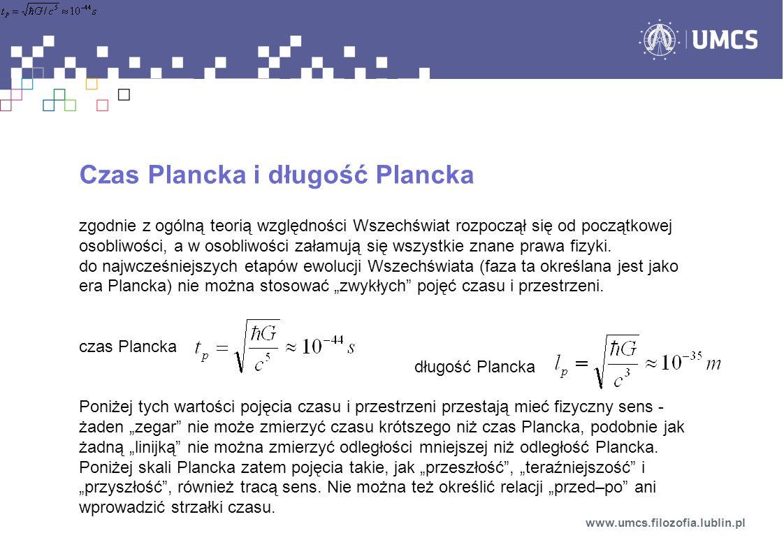 Czas Plancka i długość Plancka zgodnie z ogólną teorią względności Wszechświat rozpoczął się od początkowej osobliwości, a w osobliwości załamują się