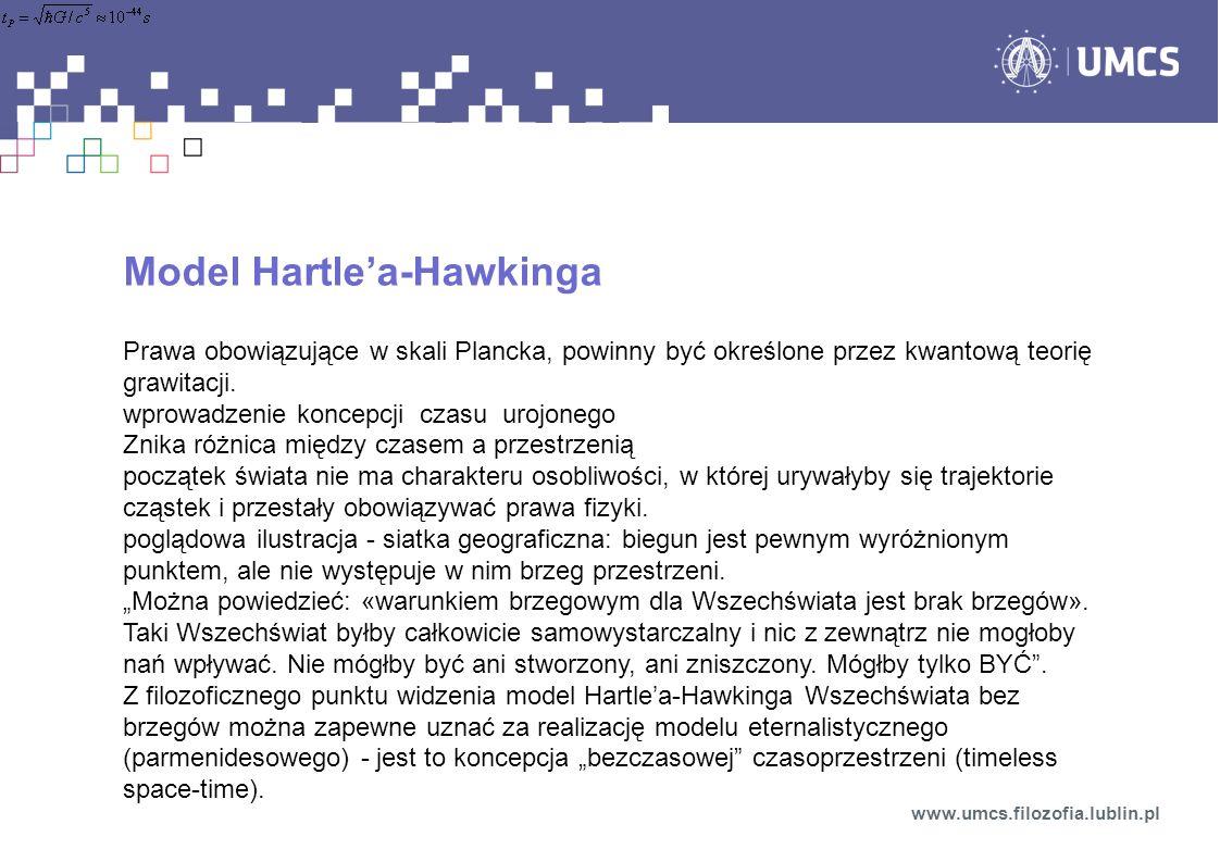 Model Hartlea-Hawkinga Prawa obowiązujące w skali Plancka, powinny być określone przez kwantową teorię grawitacji. wprowadzenie koncepcji czasu urojon