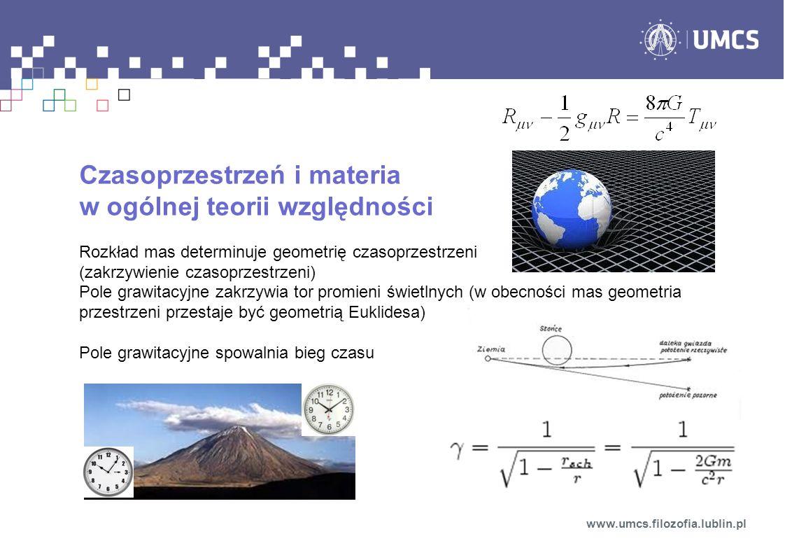Czasoprzestrzeń i materia w ogólnej teorii względności Rozkład mas determinuje geometrię czasoprzestrzeni (zakrzywienie czasoprzestrzeni) Pole grawita