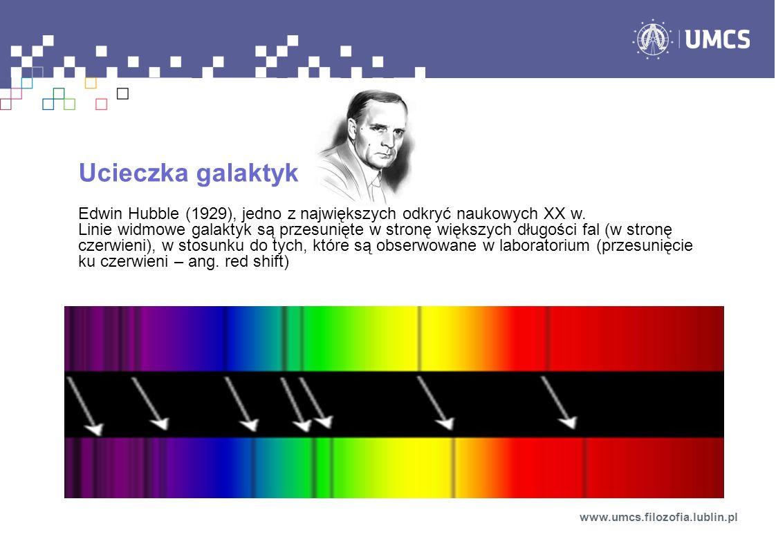 Ucieczka galaktyk Edwin Hubble (1929), jedno z największych odkryć naukowych XX w. Linie widmowe galaktyk są przesunięte w stronę większych długości f