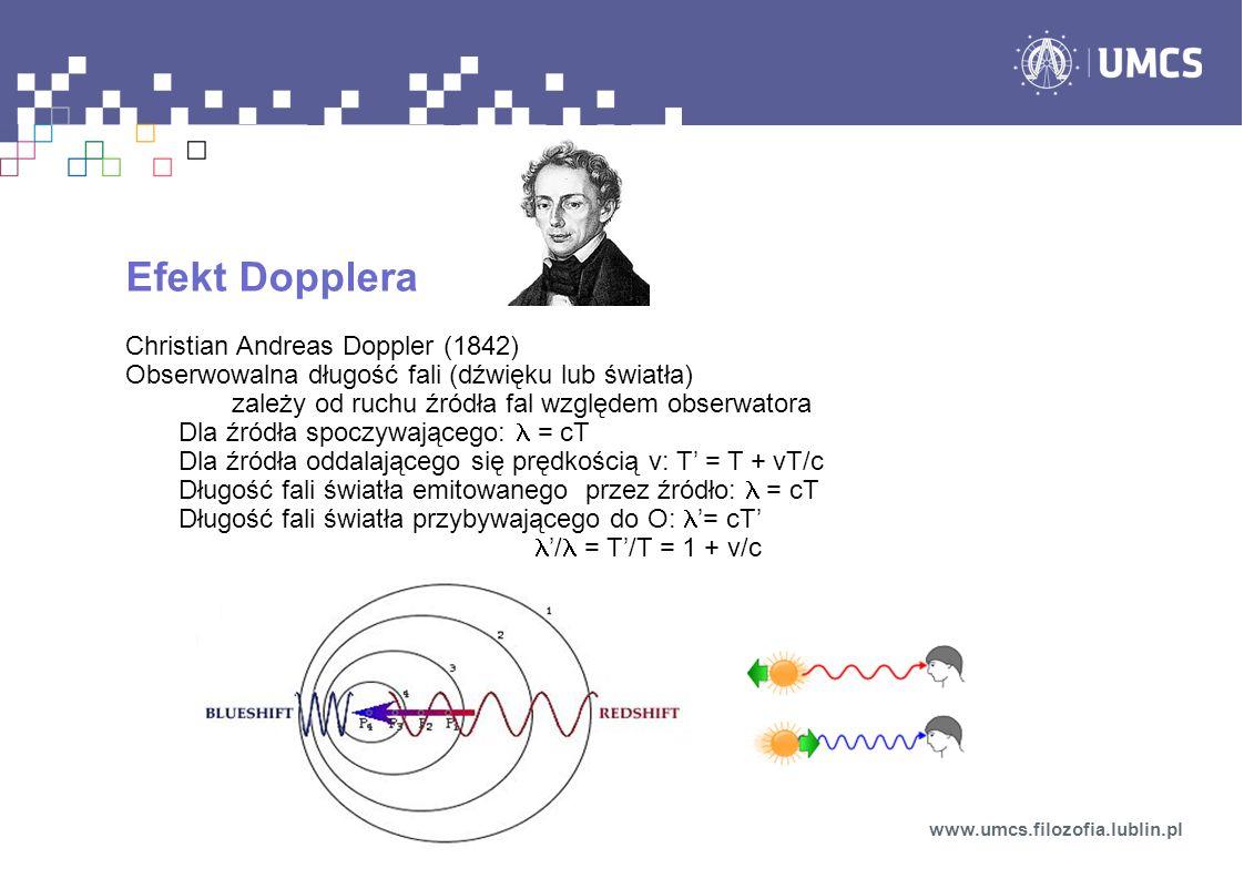 Efekt Dopplera Christian Andreas Doppler (1842) Obserwowalna długość fali (dźwięku lub światła) zależy od ruchu źródła fal względem obserwatora Dla źr