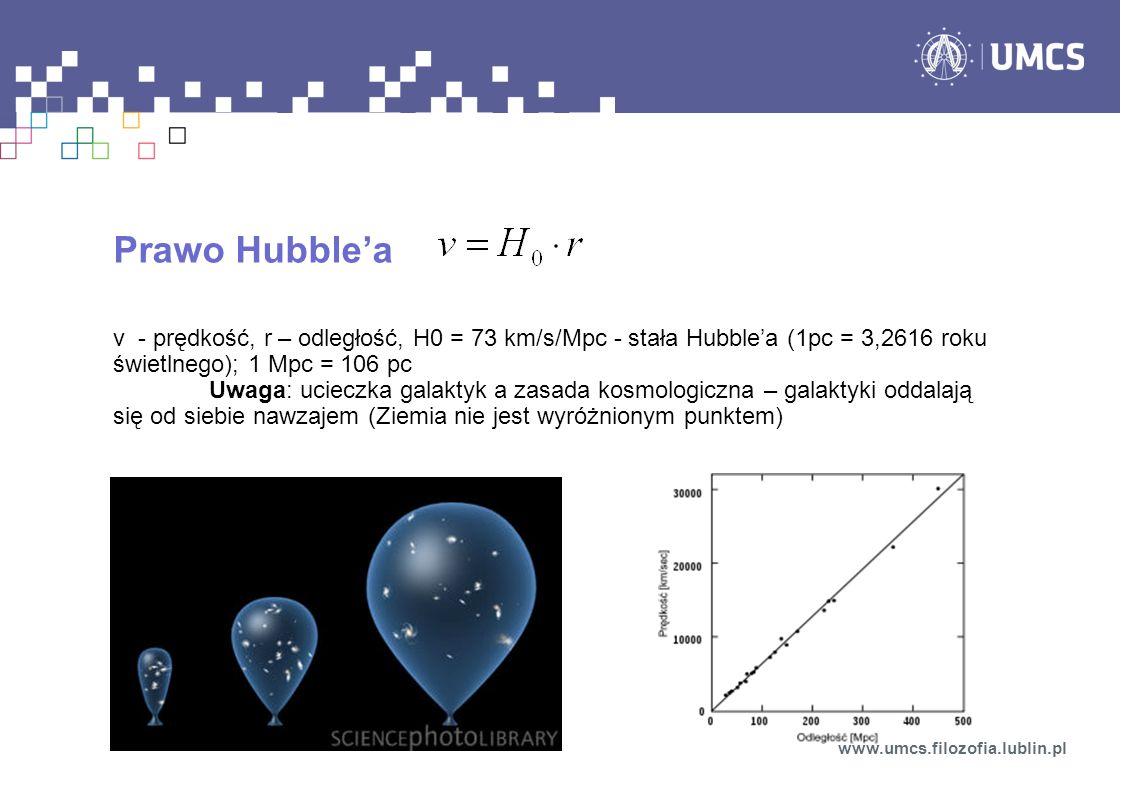 Prawo Hubblea v - prędkość, r – odległość, H0 = 73 km/s/Mpc - stała Hubblea (1pc = 3,2616 roku świetlnego); 1 Mpc = 106 pc Uwaga: ucieczka galaktyk a