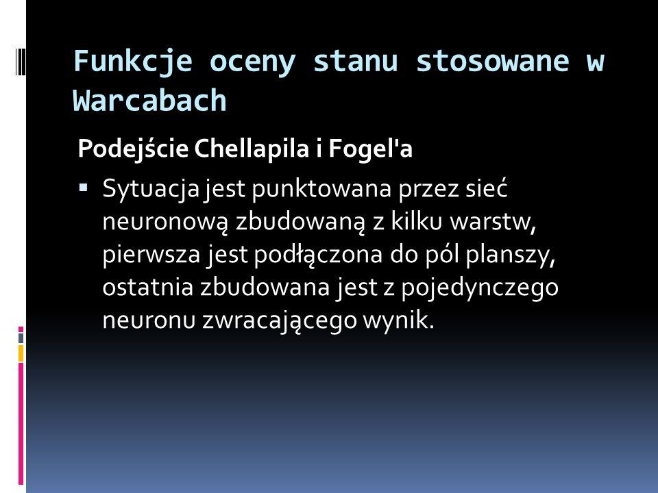 Funkcje oceny stanu stosowane w Warcabach Podejście Chellapila i Fogel'a Sytuacja jest punktowana przez sieć neuronową zbudowaną z kilku warstw, pierw