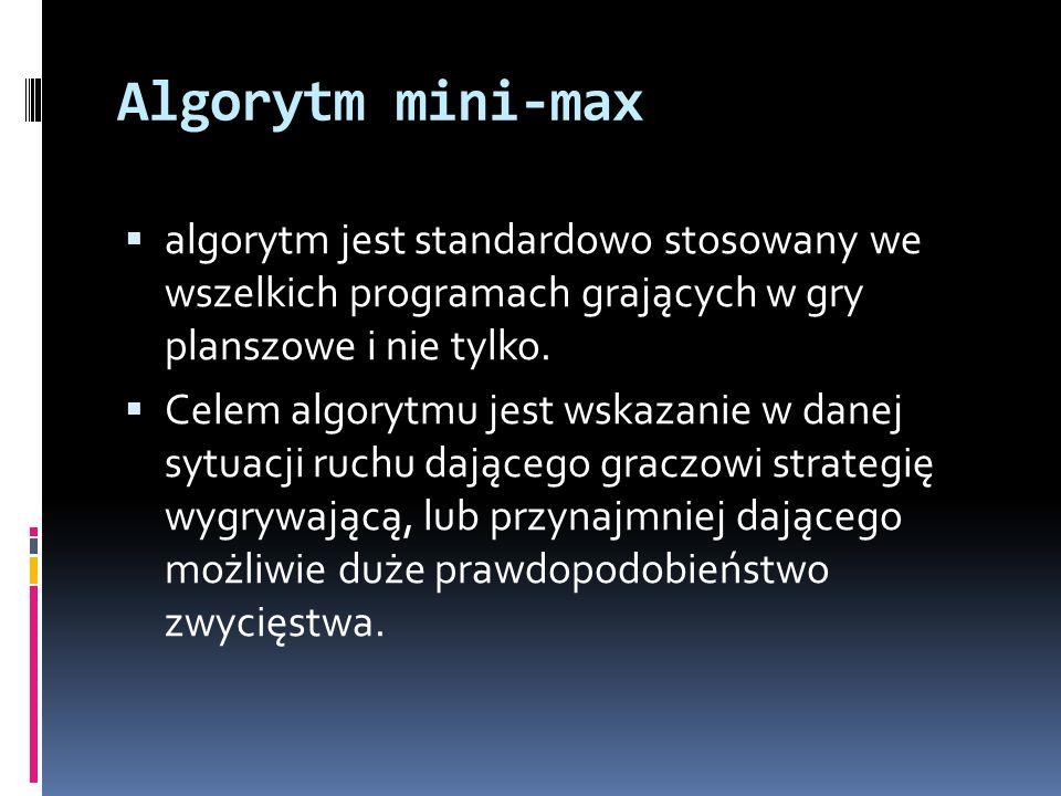 Algorytm mini-max algorytm jest standardowo stosowany we wszelkich programach grających w gry planszowe i nie tylko. Celem algorytmu jest wskazanie w