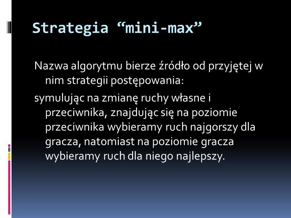 Strategia mini-max Nazwa algorytmu bierze źródło od przyjętej w nim strategii postępowania: symulując na zmianę ruchy własne i przeciwnika, znajdując