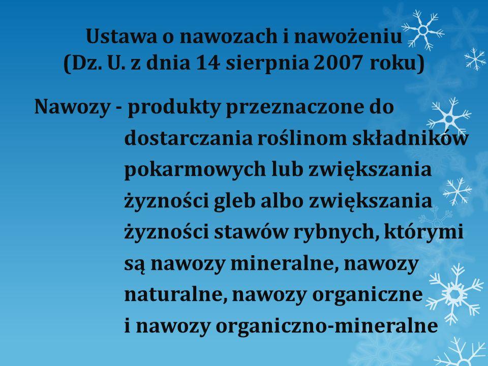 Ustawa o nawozach i nawożeniu (Dz. U. z dnia 14 sierpnia 2007 roku) Nawozy - produkty przeznaczone do dostarczania roślinom składników pokarmowych lub