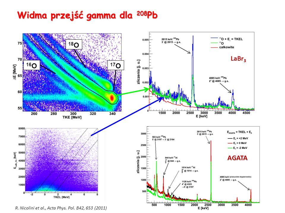 Widma przejść gamma dla 208 Pb M.Kmiecik 28.03.2013 18 O 17 O 16 O LaBr 3 AGATA R.