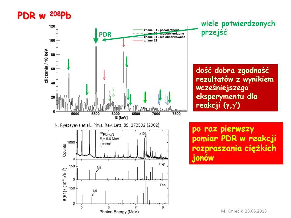 PDR w 208 Pb M.Kmiecik 28.03.2013 N. Ryezayeva et al., Phys.
