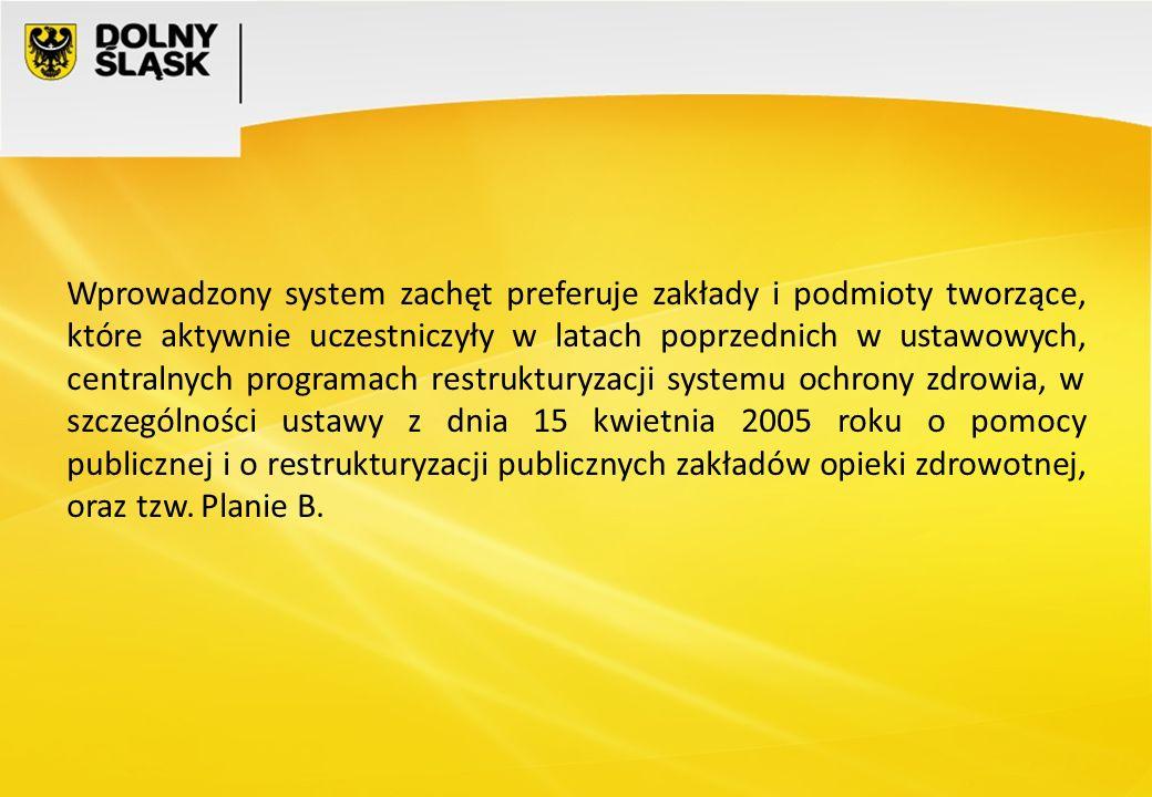 Wprowadzony system zachęt preferuje zakłady i podmioty tworzące, które aktywnie uczestniczyły w latach poprzednich w ustawowych, centralnych programac