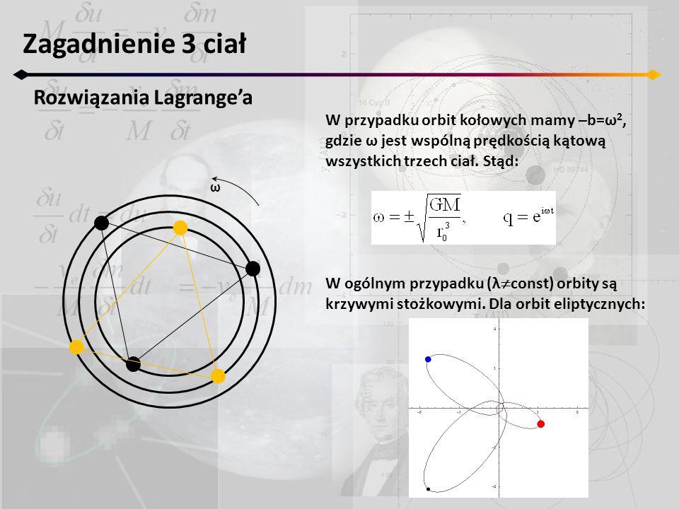 Zagadnienie 3 ciał Rozwiązania Lagrangea ω W przypadku orbit kołowych mamy –b=ω 2, gdzie ω jest wspólną prędkością kątową wszystkich trzech ciał.