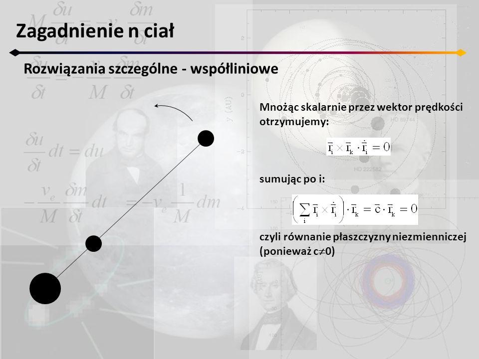Zagadnienie n ciał Ruch homograficzny – podsumowanie 1.Każdy ruch homograficzny (w szczególności współliniowy) jest płaski jeśli całkowity moment pędu jest różny od 0 2.Kiedy całkowity moment pędu znika mamy do czynienia z ruchem jednokładnym 3.Ruch homograficzny z zerowym momentem pędu jest ruchem jednokładnym gdzie każde z ciał porusza się po prostej przechodzącej przez barycentrum