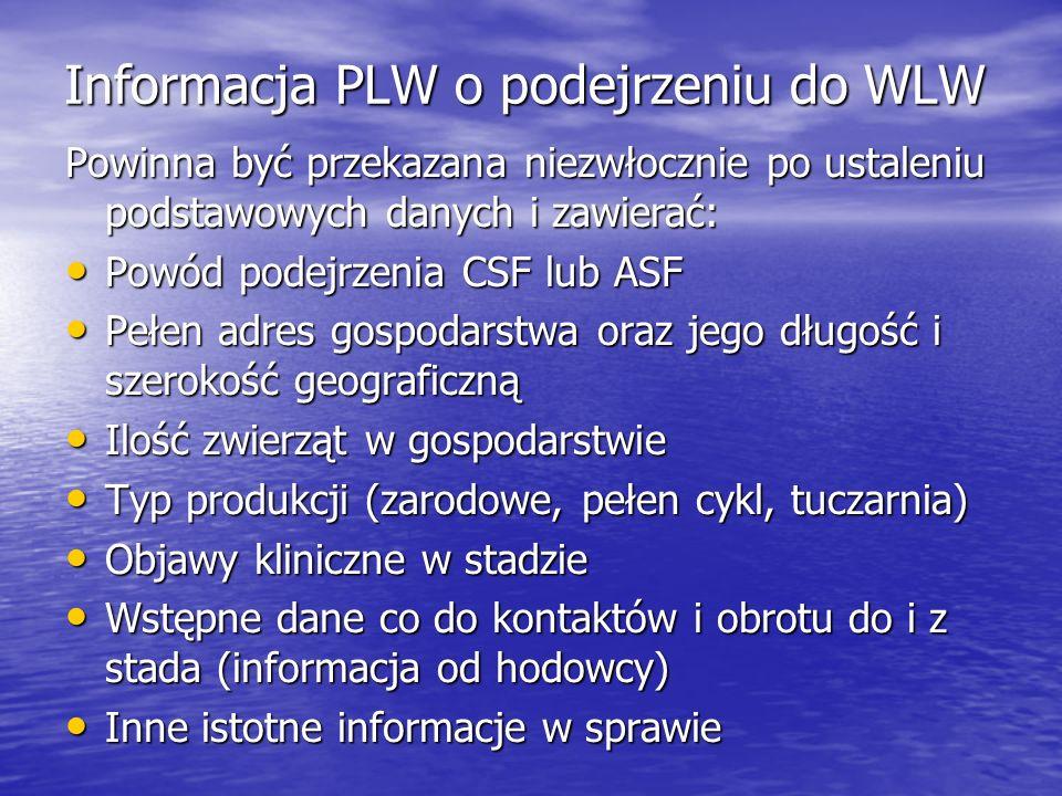 Informacja PLW o podejrzeniu do WLW Powinna być przekazana niezwłocznie po ustaleniu podstawowych danych i zawierać: Powód podejrzenia CSF lub ASF Pow