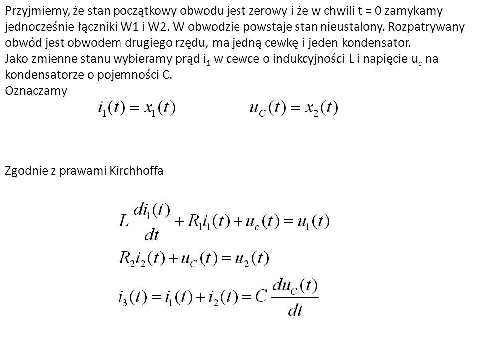 Przyjmiemy, że stan początkowy obwodu jest zerowy i że w chwili t = 0 zamykamy jednocześnie łączniki W1 i W2. W obwodzie powstaje stan nieustalony. Ro