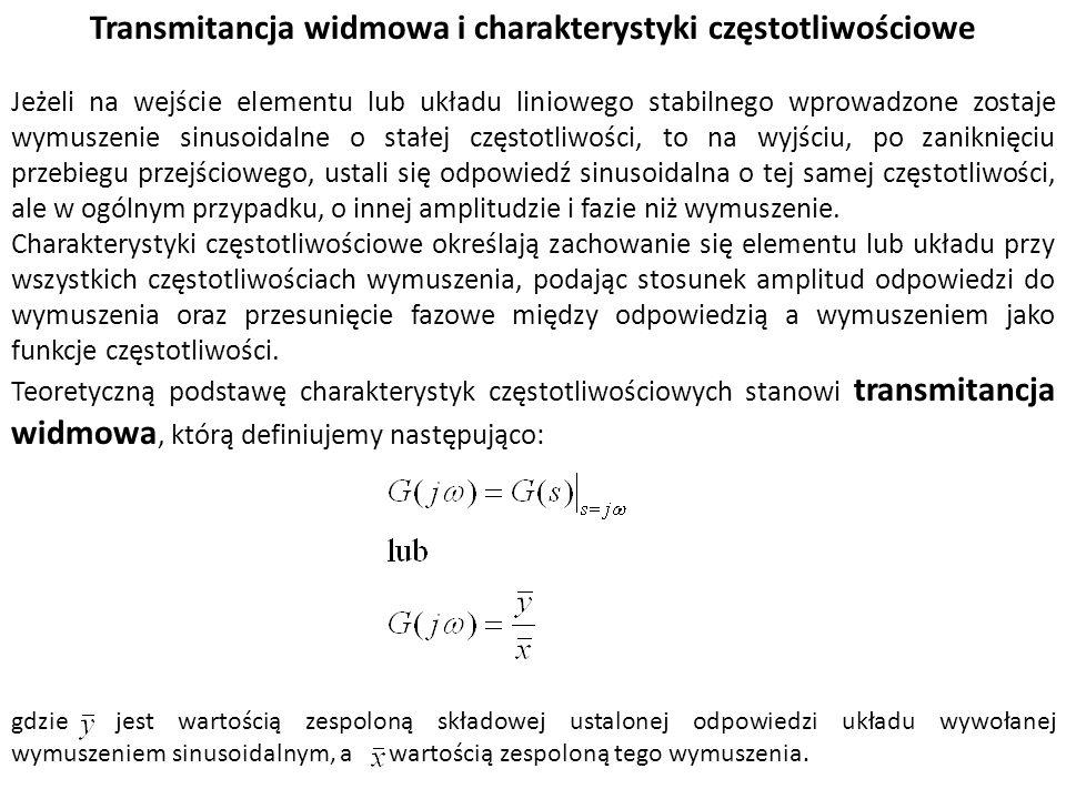 Transmitancja widmowa i charakterystyki częstotliwościowe Jeżeli na wejście elementu lub układu liniowego stabilnego wprowadzone zostaje wymuszenie si