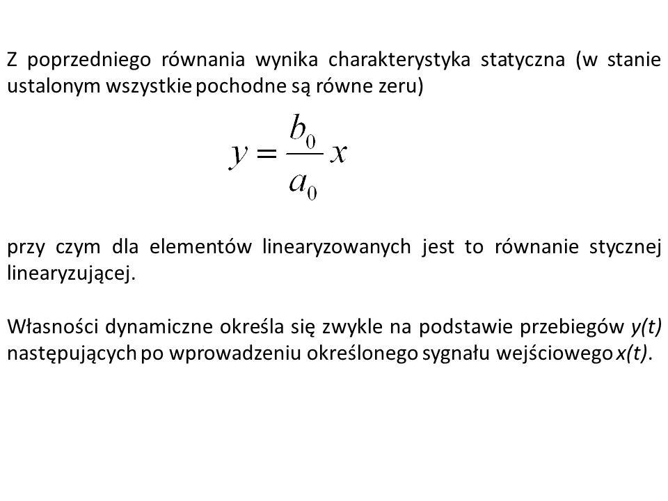Z poprzedniego równania wynika charakterystyka statyczna (w stanie ustalonym wszystkie pochodne są równe zeru) przy czym dla elementów linearyzowanych