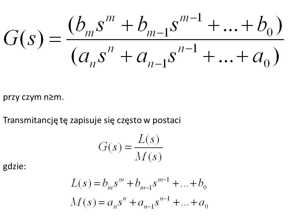 Transmitancja widmowa i charakterystyki częstotliwościowe Jeżeli na wejście elementu lub układu liniowego stabilnego wprowadzone zostaje wymuszenie sinusoidalne o stałej częstotliwości, to na wyjściu, po zaniknięciu przebiegu przejściowego, ustali się odpowiedź sinusoidalna o tej samej częstotliwości, ale w ogólnym przypadku, o innej amplitudzie i fazie niż wymuszenie.