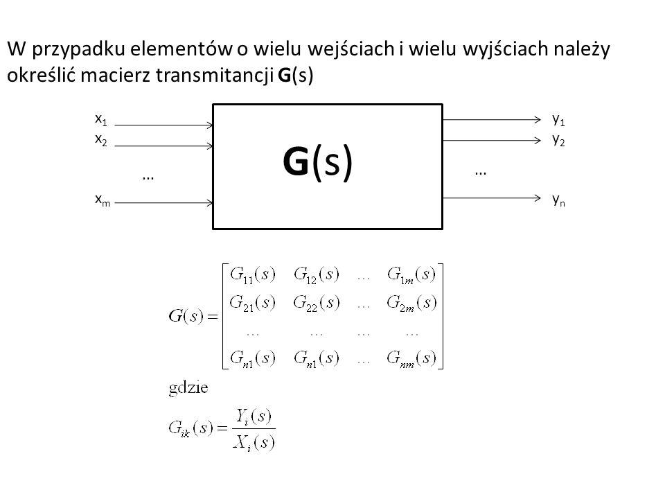W przypadku elementów o wielu wejściach i wielu wyjściach należy określić macierz transmitancji G(s) G(s)... x1x2xmx1x2xm y1y2yny1y2yn