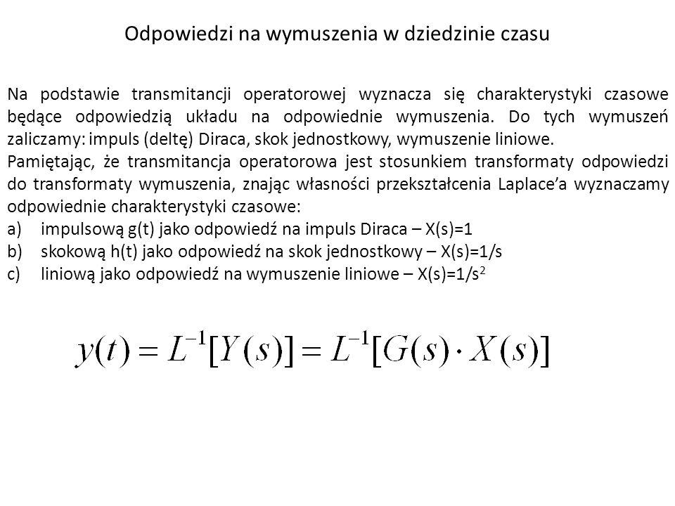 Do pozostałych charakterystyk częstotliwościowych, oprócz charakterystyki amplitudowo – fazowej zaliczamy: - amplitudową charakterystykę częstotliwościową M( ) lub A( ) - fazową charakterystykę częstotliwościową ( ) - charakterystykę częstotliwościową części rzeczywistej transmitancji widmowej P( ) - charakterystykę częstotliwościową części urojonej transmitancji widmowej Q( Charakterystyki częstotliwościowe amplitudową i fazową przedstawiane są zwykle we współrzędnych logarytmicznych i nazywają się wówczas: - L( )=20 log A( ) – logarytmiczna charakterystyka amplitudowa - ( ) – logarytmiczna charakterystyka fazowa.