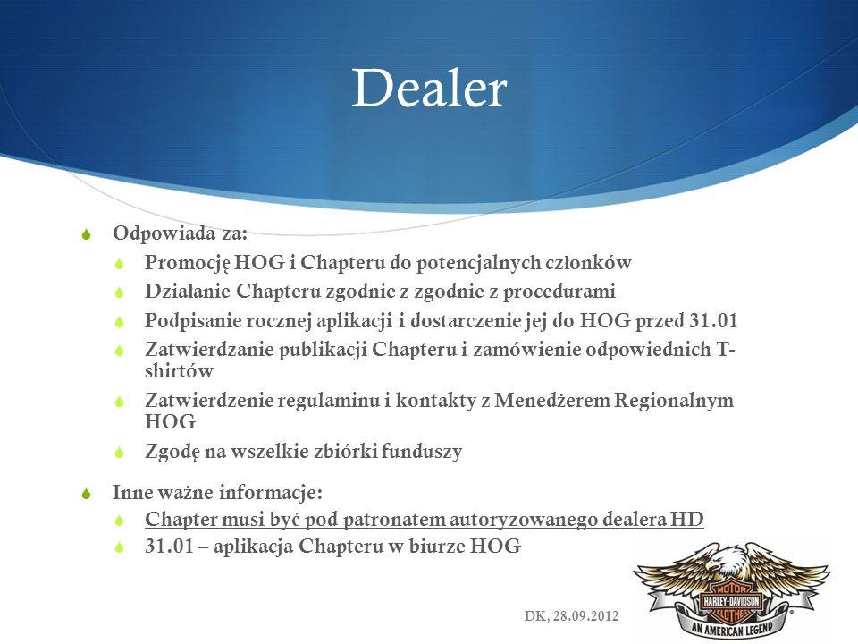 Dealer Odpowiada za: Promocj ę HOG i Chapteru do potencjalnych cz ł onków Dzia ł anie Chapteru zgodnie z zgodnie z procedurami Podpisanie rocznej apli