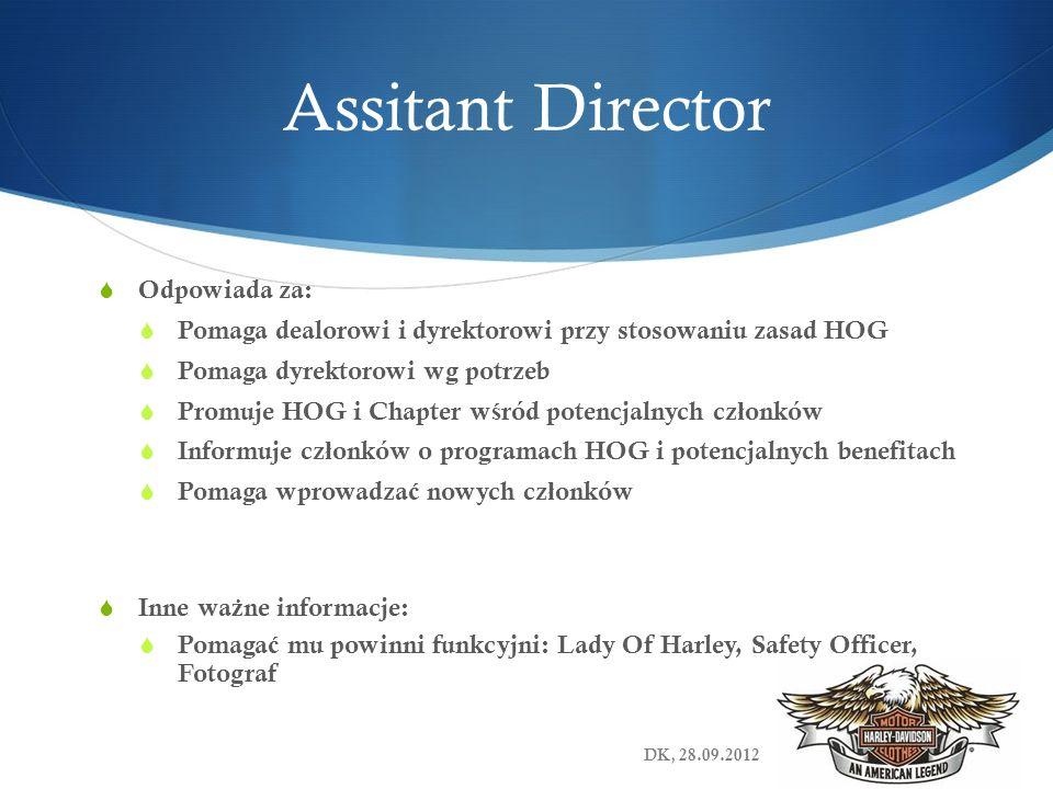 Assitant Director Odpowiada za: Pomaga dealorowi i dyrektorowi przy stosowaniu zasad HOG Pomaga dyrektorowi wg potrzeb Promuje HOG i Chapter w ś ród p