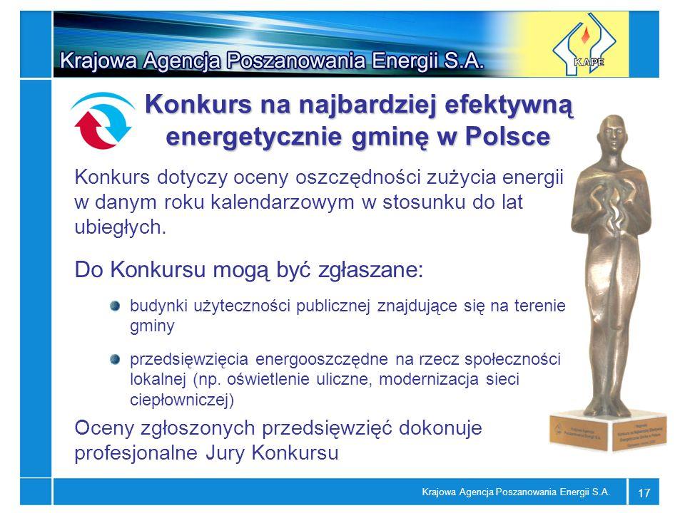 Krajowa Agencja Poszanowania Energii S.A. 17 Konkurs na najbardziej efektywną energetycznie gminę w Polsce Konkurs dotyczy oceny oszczędności zużycia