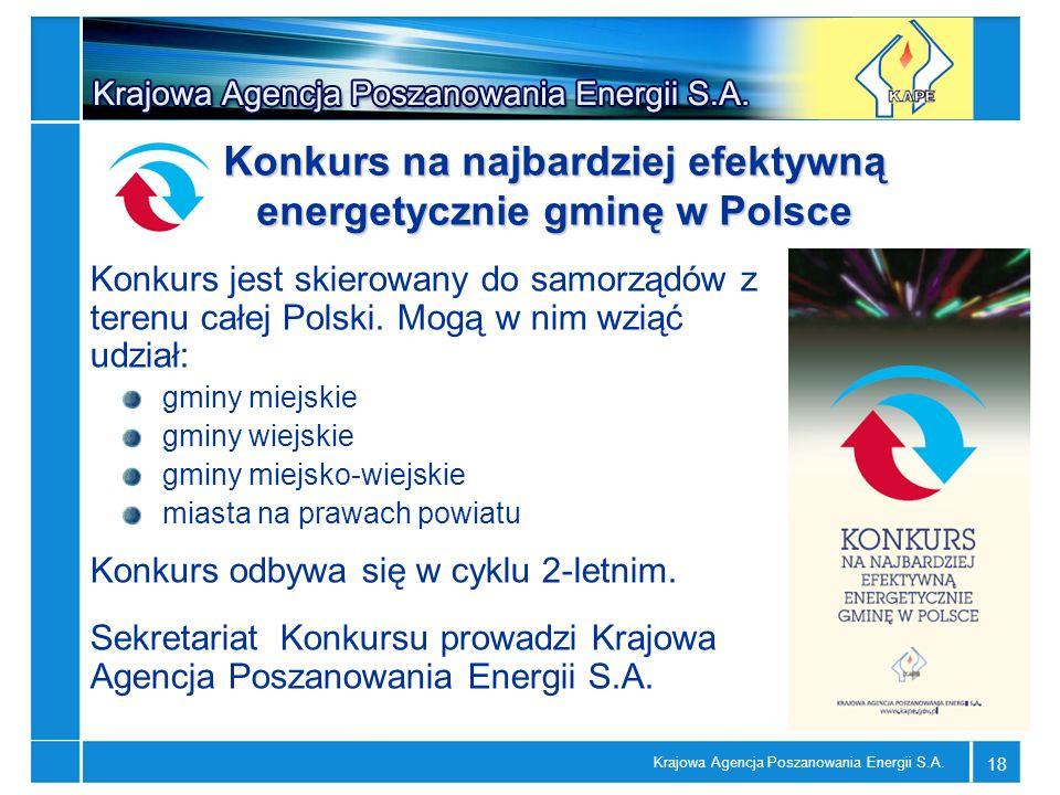 Krajowa Agencja Poszanowania Energii S.A. 18 Konkurs jest skierowany do samorządów z terenu całej Polski. Mogą w nim wziąć udział: gminy miejskie gmin