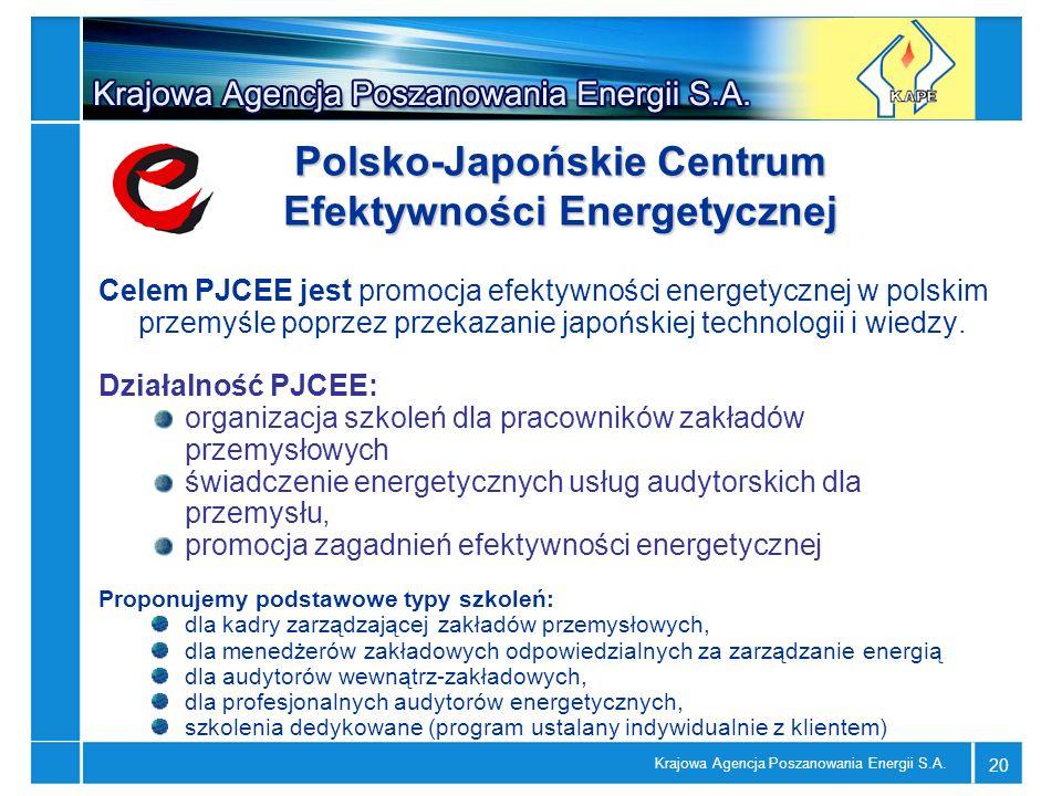 Krajowa Agencja Poszanowania Energii S.A. 20 Polsko-Japońskie Centrum Efektywności Energetycznej Celem PJCEE jest promocja efektywności energetycznej