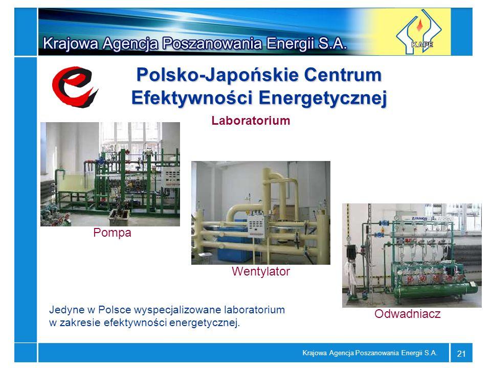 Krajowa Agencja Poszanowania Energii S.A. 21 Pompa Odwadniacz Wentylator Laboratorium Polsko-Japońskie Centrum Efektywności Energetycznej Jedyne w Pol