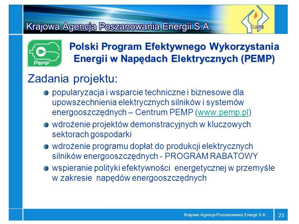 Krajowa Agencja Poszanowania Energii S.A. 23 Zadania projektu: popularyzacja i wsparcie techniczne i biznesowe dla upowszechnienia elektrycznych silni