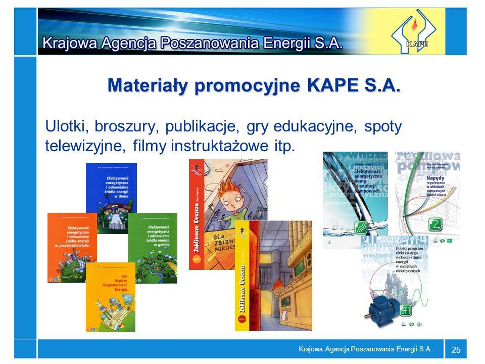 Krajowa Agencja Poszanowania Energii S.A. 25 Materiały promocyjne KAPE S.A. Ulotki, broszury, publikacje, gry edukacyjne, spoty telewizyjne, filmy ins