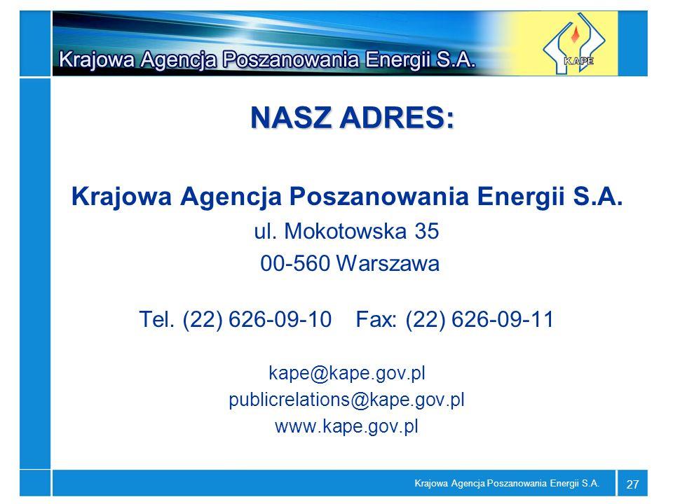 Krajowa Agencja Poszanowania Energii S.A. 27 NASZ ADRES: Krajowa Agencja Poszanowania Energii S.A. ul. Mokotowska 35 00-560 Warszawa Tel. (22) 626-09-