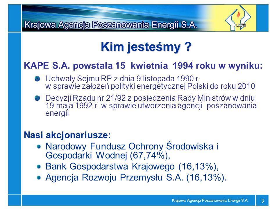 Krajowa Agencja Poszanowania Energii S.A. 3 Kim jesteśmy ? KAPE S.A. powstała 15 kwietnia 1994 roku w wyniku: Uchwały Sejmu RP z dnia 9 listopada 1990