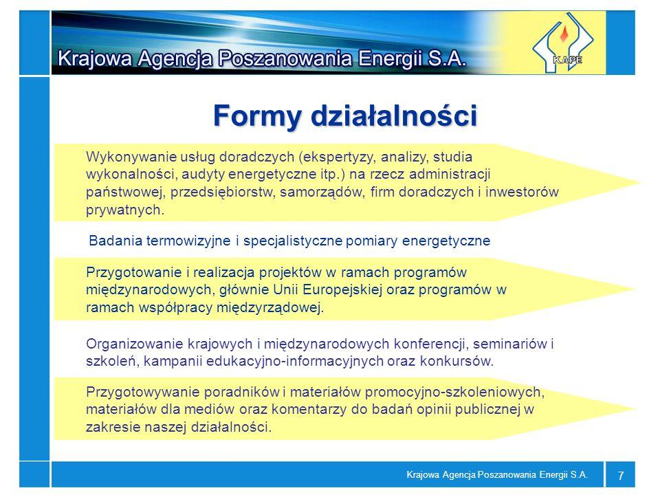 Krajowa Agencja Poszanowania Energii S.A. 7 Badania termowizyjne i specjalistyczne pomiary energetyczne Wykonywanie usług doradczych (ekspertyzy, anal