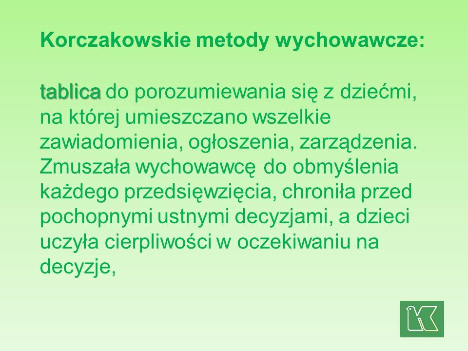 Korczakowskie metody wychowawcze: tablica tablica do porozumiewania się z dziećmi, na której umieszczano wszelkie zawiadomienia, ogłoszenia, zarządzen