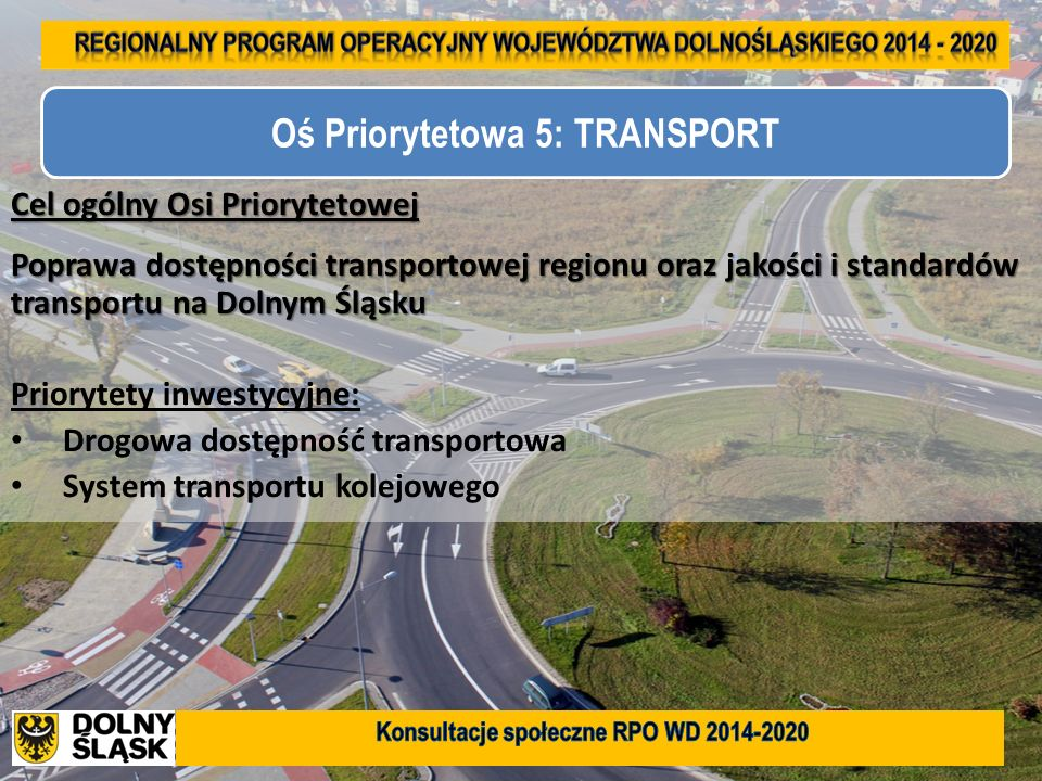 21 Cel ogólny Osi Priorytetowej Poprawa dostępności transportowej regionu oraz jakości i standardów transportu na Dolnym Śląsku Priorytety inwestycyjn