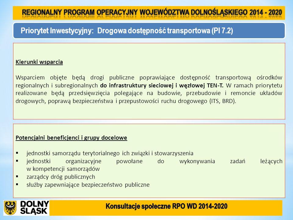 Priorytet Inwestycyjny: Drogowa dostępność transportowa (PI 7.2) Kierunki wsparcia Wsparciem objęte będą drogi publiczne poprawiające dostępność trans