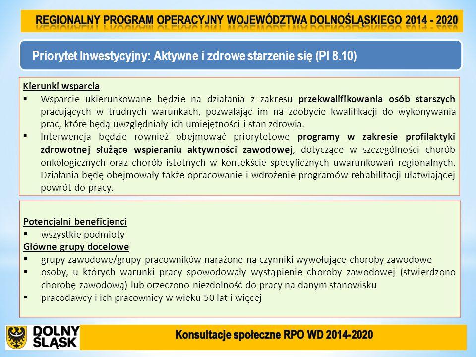 Priorytet Inwestycyjny: Aktywne i zdrowe starzenie się (PI 8.10) Kierunki wsparcia Wsparcie ukierunkowane będzie na działania z zakresu przekwalifikow