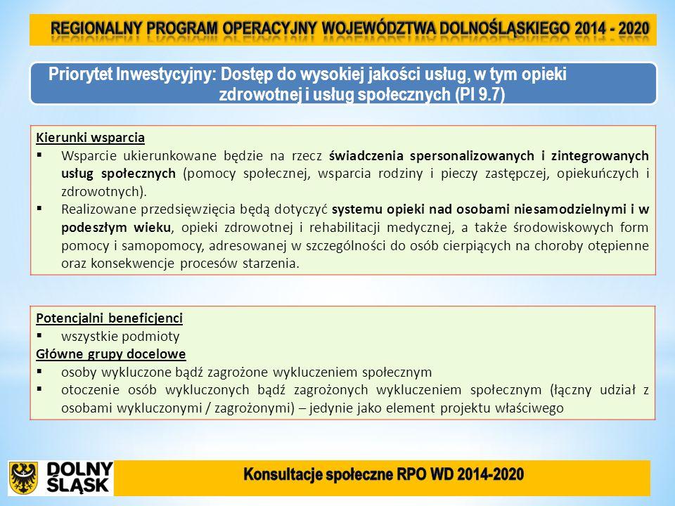 Kierunki wsparcia Wsparcie ukierunkowane będzie na rzecz świadczenia spersonalizowanych i zintegrowanych usług społecznych (pomocy społecznej, wsparci
