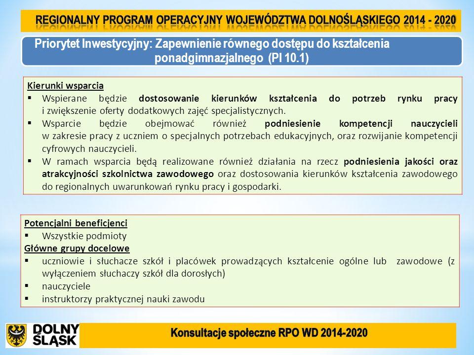 Priorytet Inwestycyjny: Zapewnienie równego dostępu do kształcenia ponadgimnazjalnego (PI 10.1) Kierunki wsparcia Wspierane będzie dostosowanie kierun