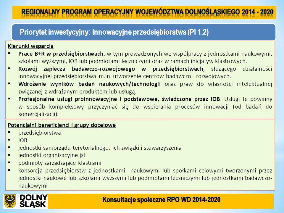 Priorytet inwestycyjny: Innowacyjne przedsiębiorstwa (PI 1.2) Kierunki wsparcia Prace B+R w przedsiębiorstwach, w tym prowadzonych we współpracy z jed