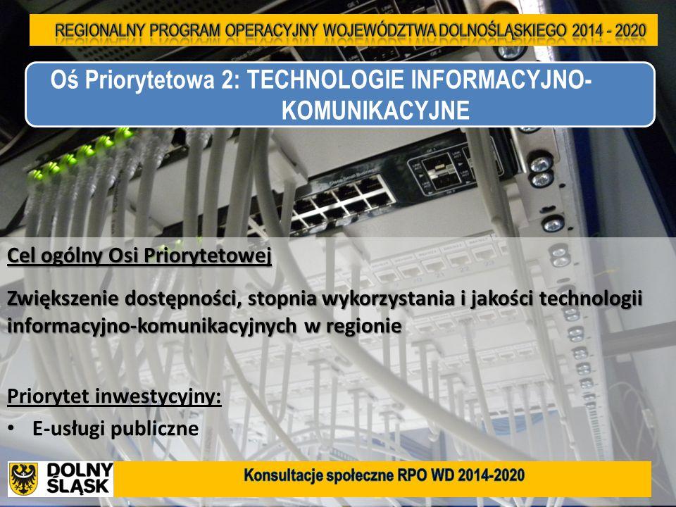 9 Cel ogólny Osi Priorytetowej Zwiększenie dostępności, stopnia wykorzystania i jakości technologii informacyjno-komunikacyjnych w regionie Priorytet