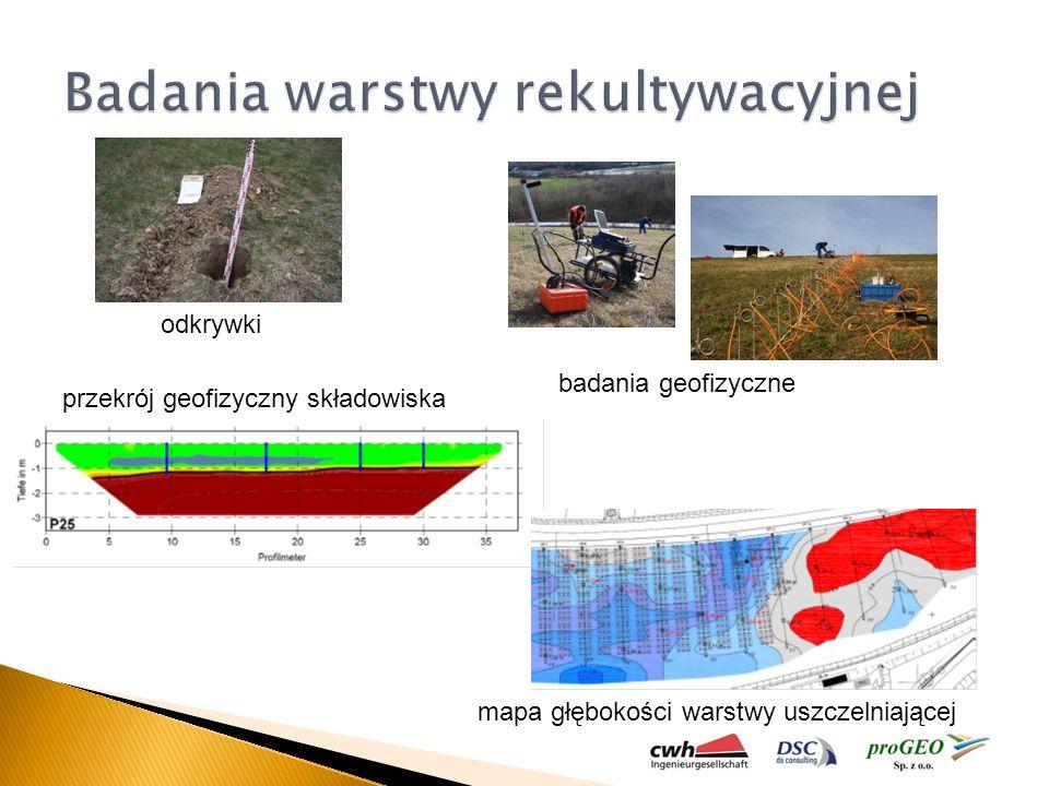 odkrywki badania geofizyczne przekrój geofizyczny składowiska mapa głębokości warstwy uszczelniającej