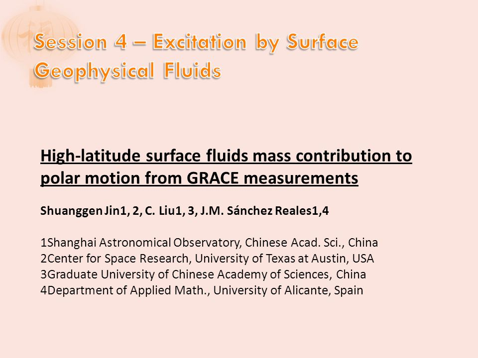 High-latitude surface fluids mass contribution to polar motion from GRACE measurements Shuanggen Jin1, 2, C.