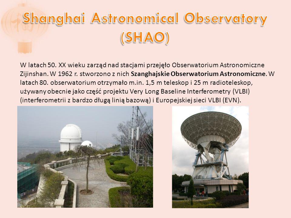 W latach 50. XX wieku zarząd nad stacjami przejęło Obserwatorium Astronomiczne Zijinshan.