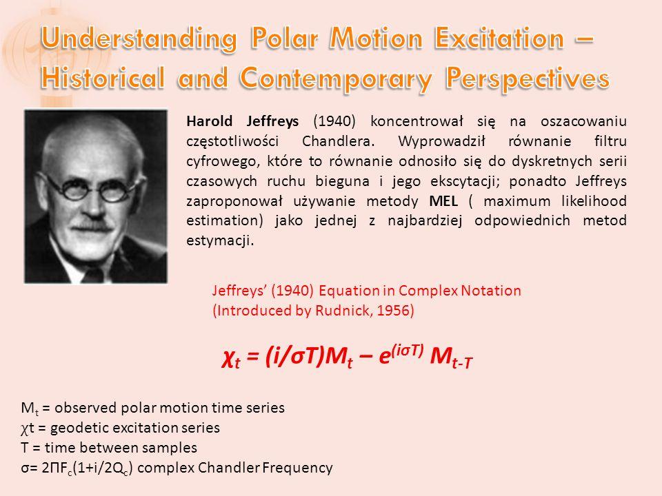 Harold Jeffreys (1940) koncentrował się na oszacowaniu częstotliwości Chandlera.