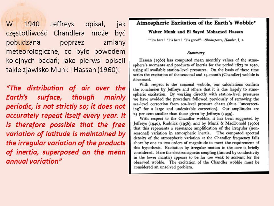 W 1940 Jeffreys opisał, jak częstotliwość Chandlera może być pobudzana poprzez zmiany meteorologiczne, co było powodem kolejnych badań; jako pierwsi opisali takie zjawisko Munk i Hassan (1960): The distribution of air over the Earths surface, though mainly periodic, is not strictly so; it does not accurately repeat itself every year.